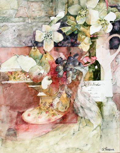 Shirley Trevena. A Fruit Bowl with black grapes and Pears.