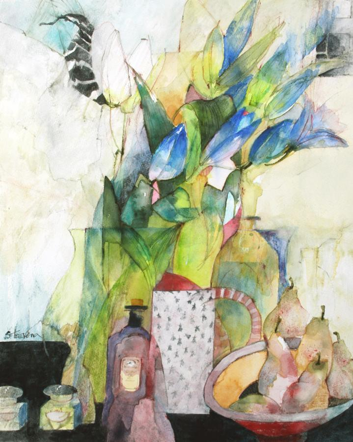 Shirley Trevena. Still Life with blue paper flowers.