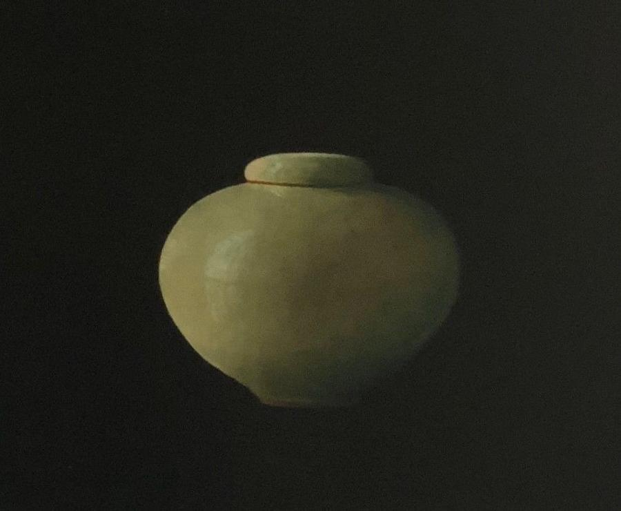 Lidded Celadon Moon Jar