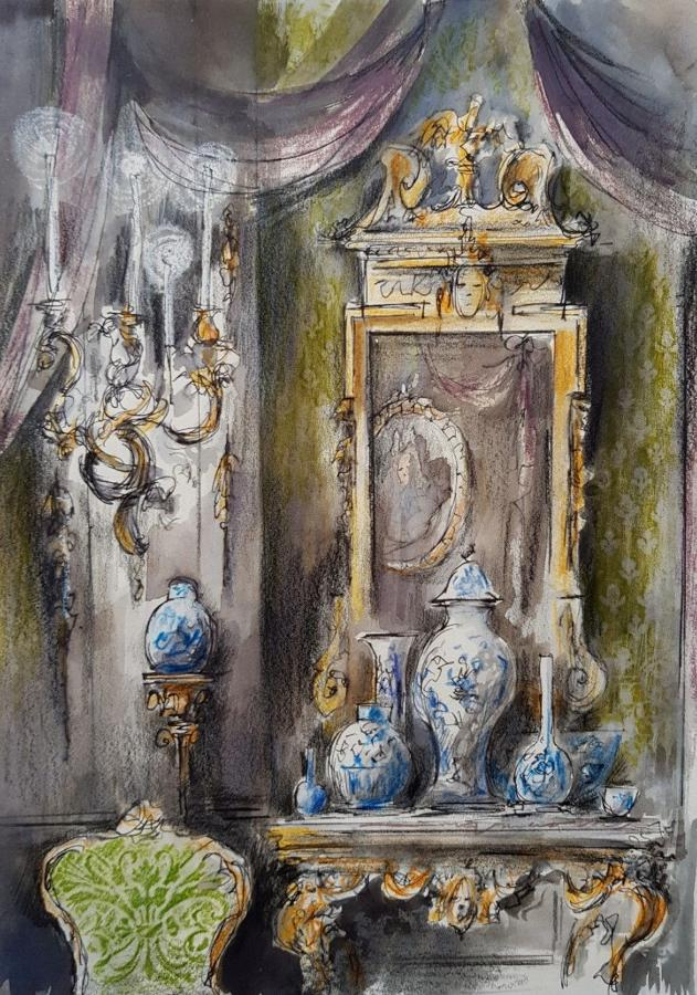 Trevor Newton. Interior with blue and white porcelain