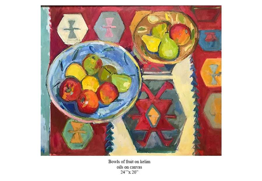 Antonia Ogilvie-Forbes. Bowls of fruit on Kelim.