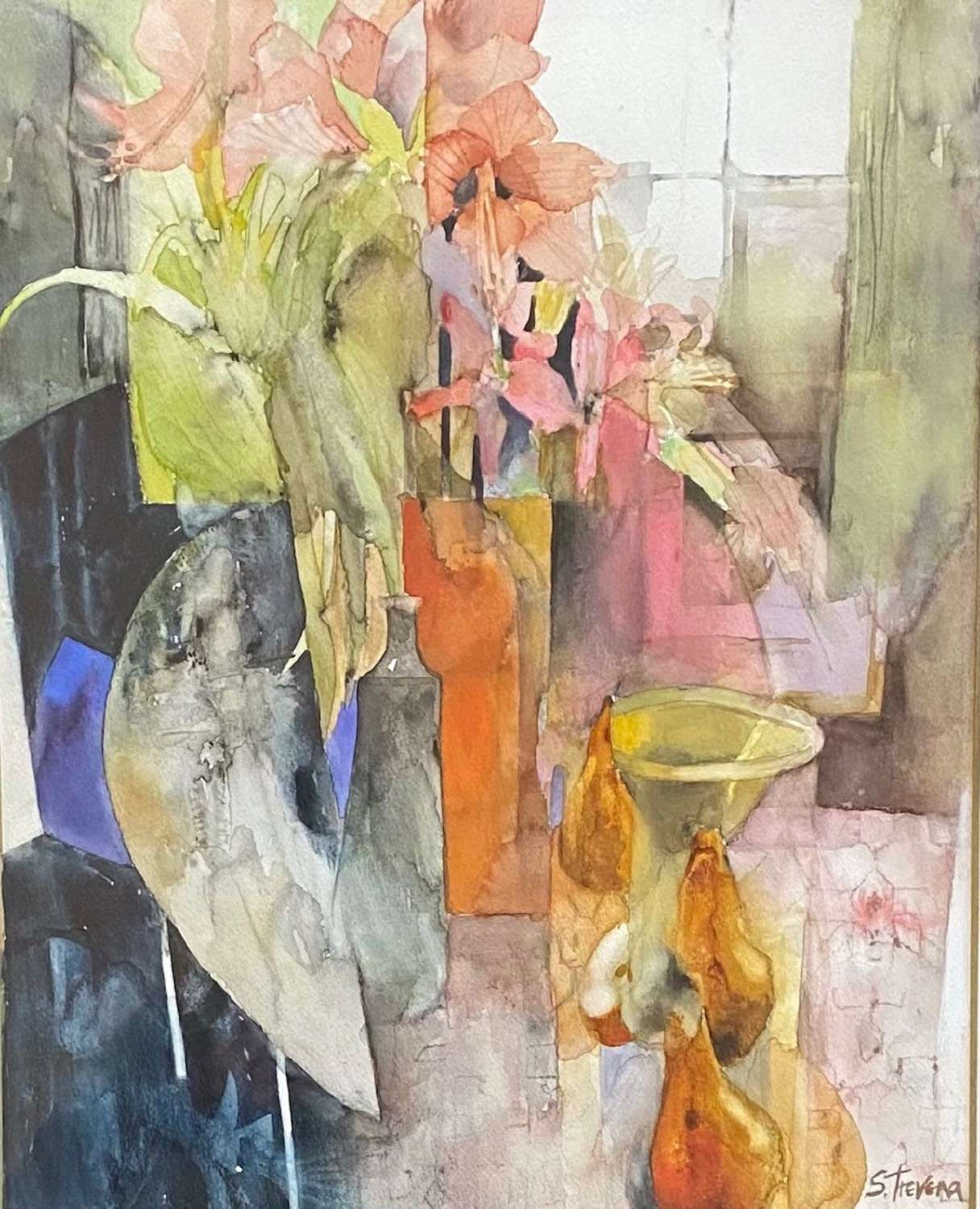 Shirley Trevena.  'Still Life on a marble table'.
