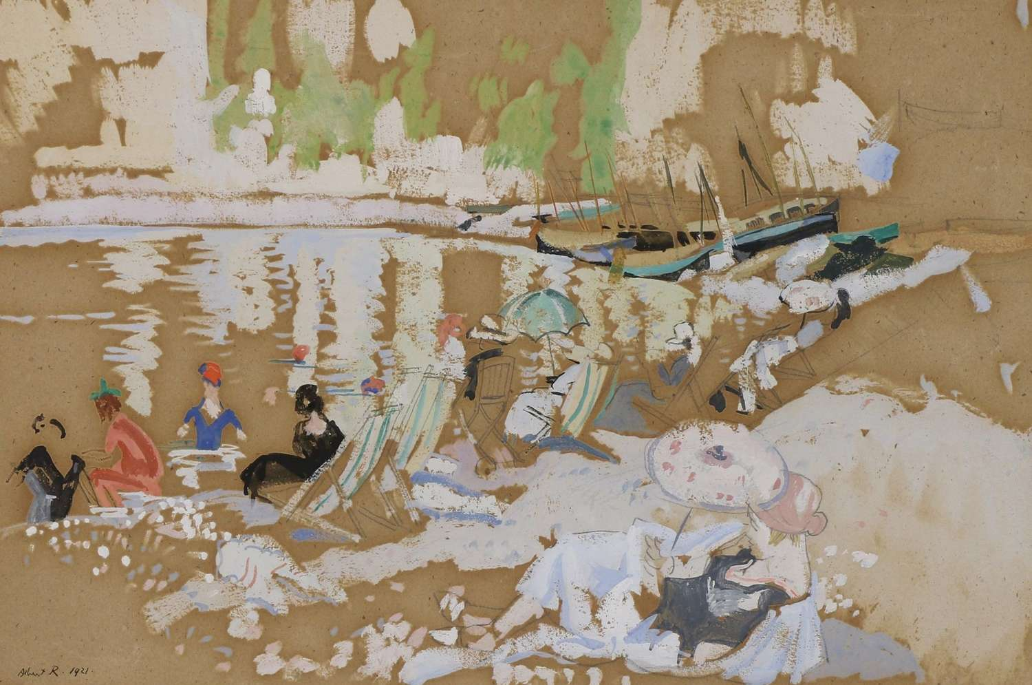 Albert Rutherston. 1881-1953. Figures by a Lake.